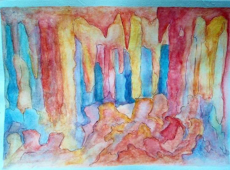 Sfendoni cave CreteWatercolour painting