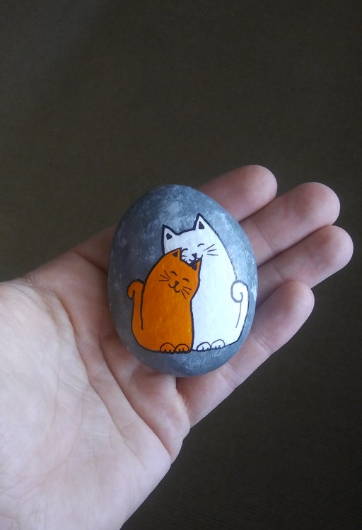 Hand painted rock art stone cats