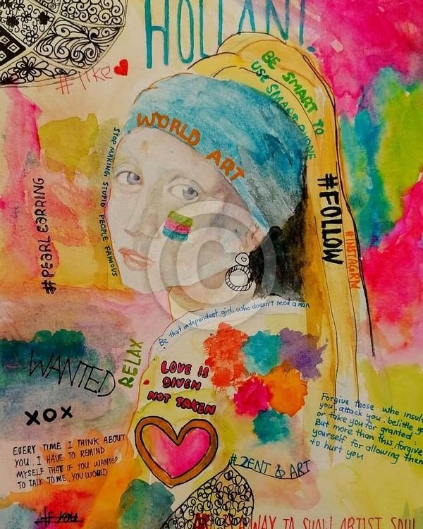 Creative artwatercolor pearl pearlearrings artoftheday artwork instaart artgallery gallery colar sty