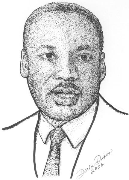 Martin Luther King Jr Stipple Portrait By Darla Dixon Artwantedcom