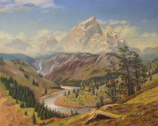 Stream Mountains Panorama Landscape Oil Painting