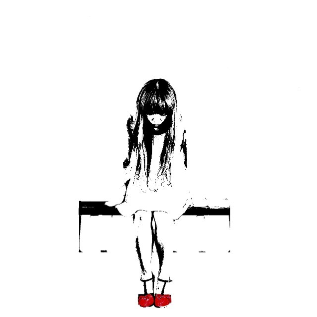 Banksy Style Girl with Red Shoes