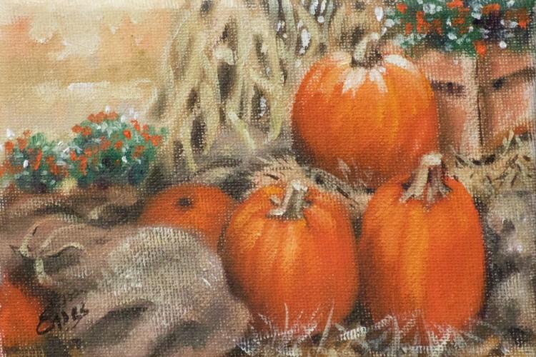 Burlap Bags and Pumpkins