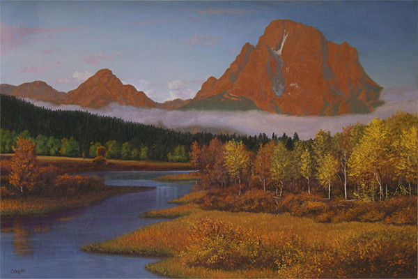 MountainsRiverAspensMountainLandscapeOilPainting
