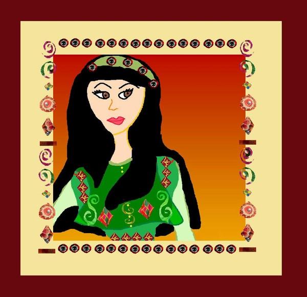 Afghan woman in green