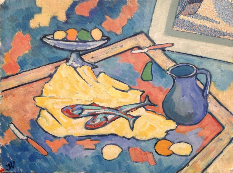 Still life with lemon and fish