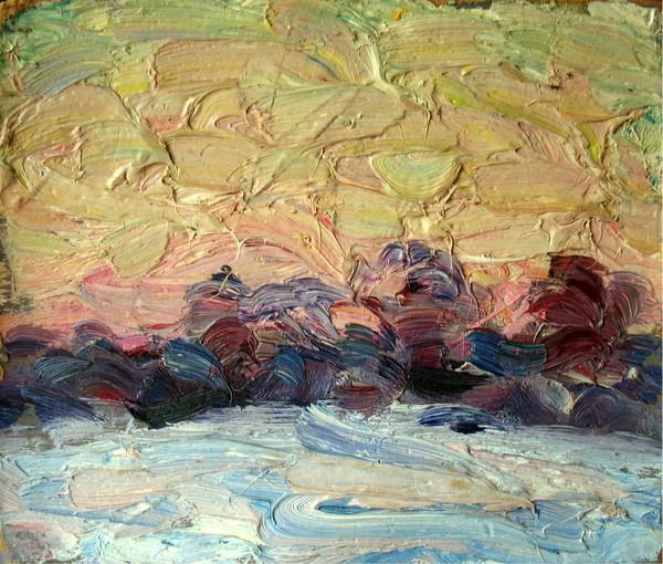 March. Sunset in Parfenkino. 1978
