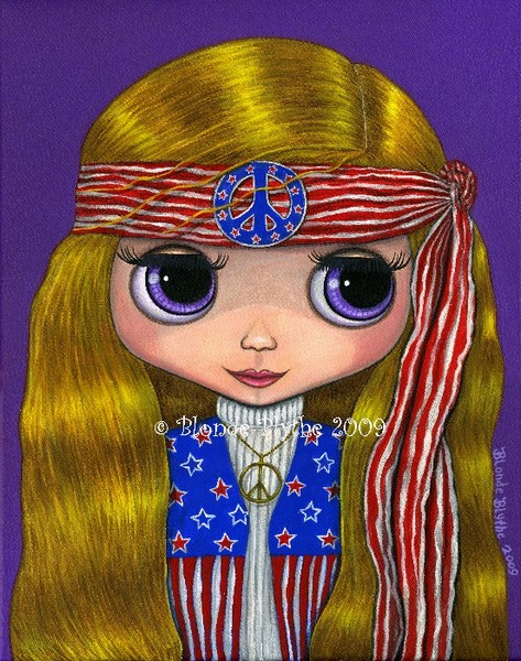 Stars and Stripes Hippie Blythe Doll