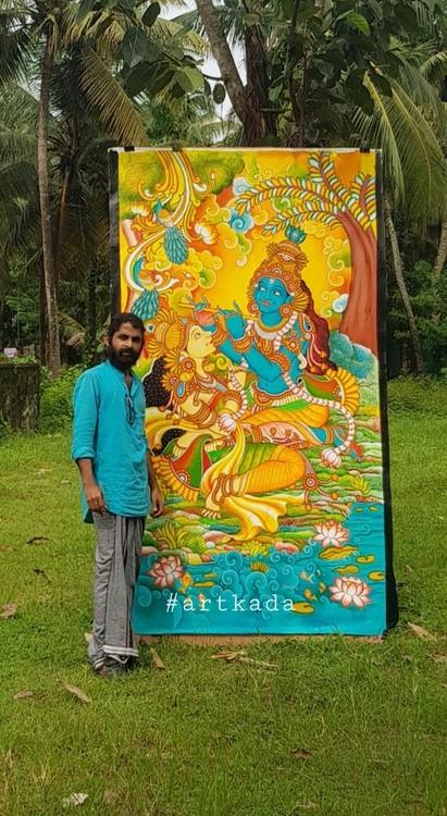 Radha Krishna painting by Vipin iritty