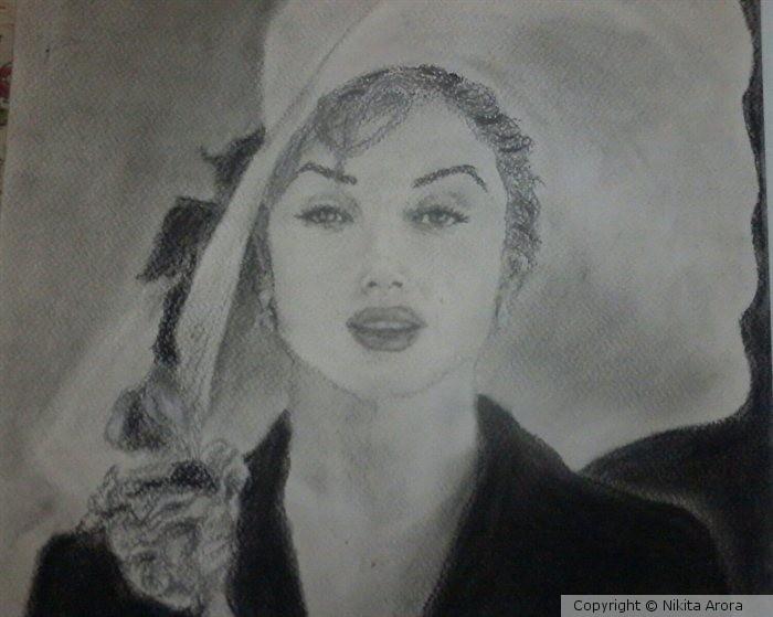 Marilyn Monroe in charcoal