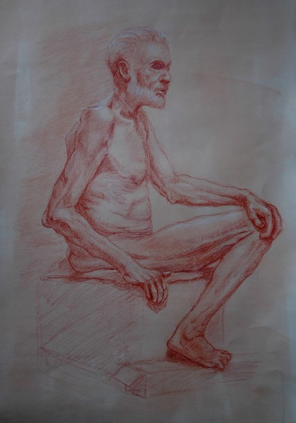 old Man No. 3 in Red Chalk