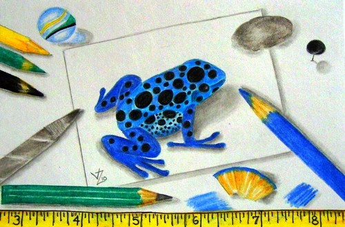 Working on a Dart Frog ACEO