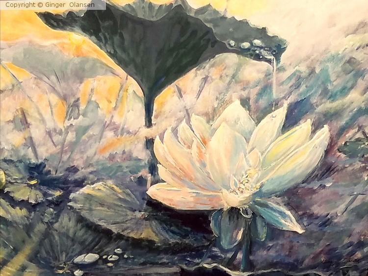 Lotus Flower At Sunrise Mist