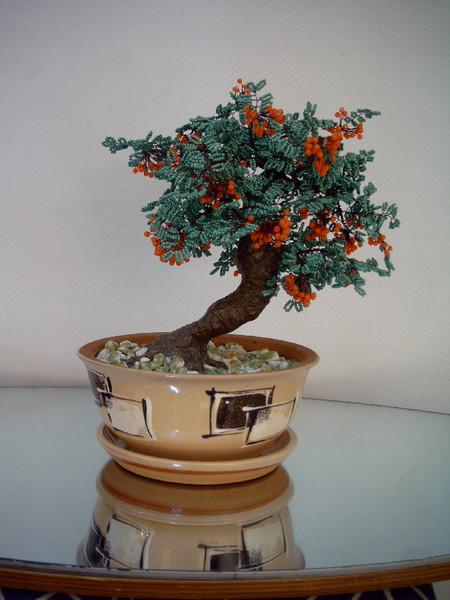 Tree Bonsai From Beads Mountain Ash By Olga Chashuhyna Artwanted Com