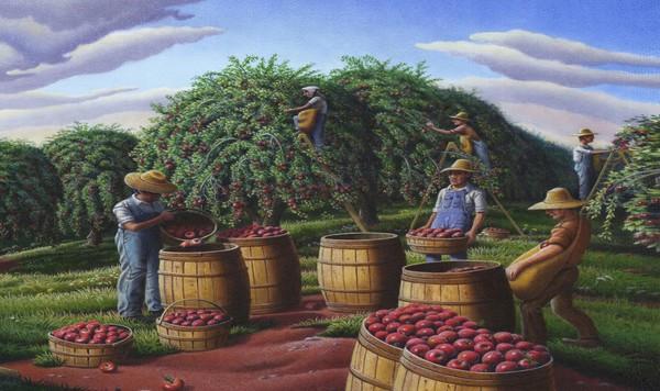 Farmers Picking Apples - Phone Case Art
