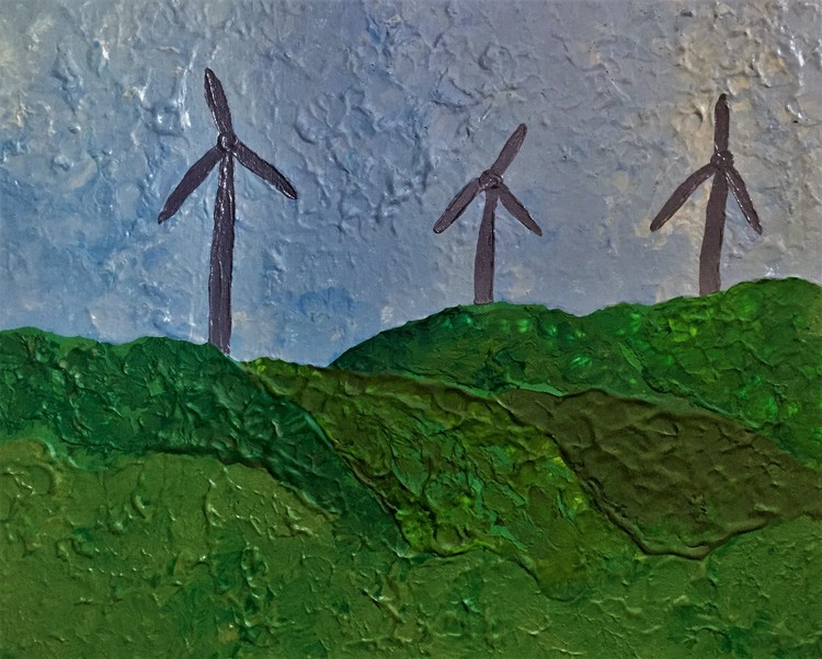Landscape with wind generators