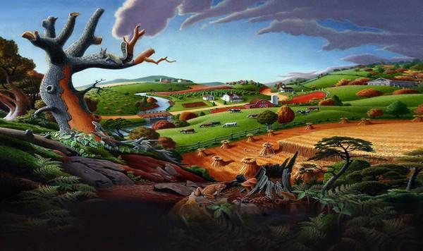 Autumn Wheat Harvest Landscape - Phone Case Art
