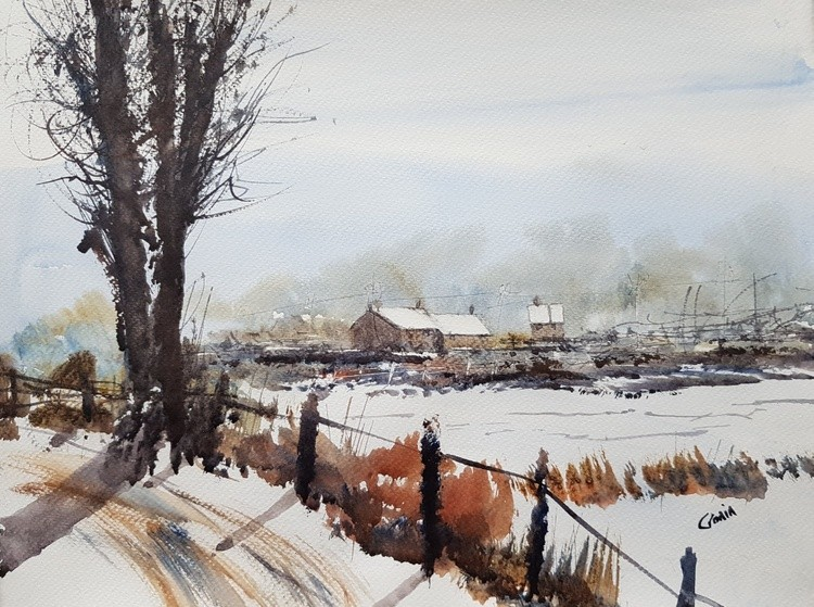 Winter in the Village Watercolour Painting by Steven Cronin