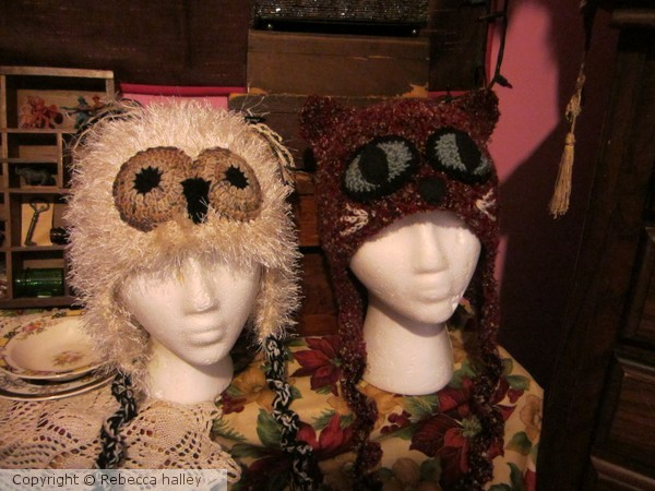 Hand Crocheted Owl & Pussy Cat Hats