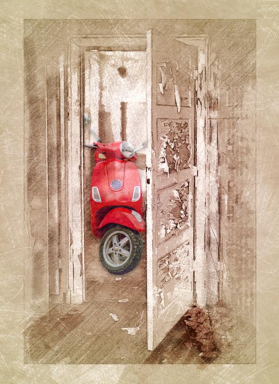 red scooter at doordoor
