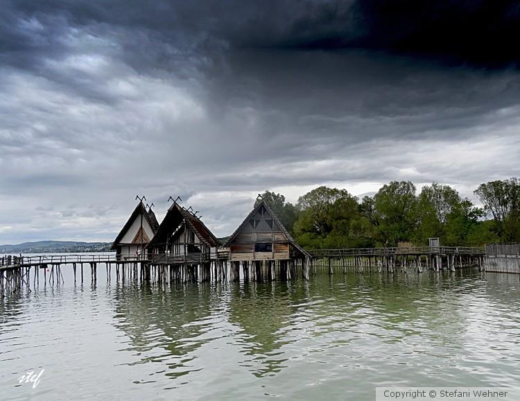 lake dwelling village at lake of constance