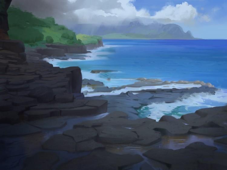Island Background Painting