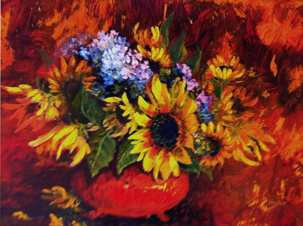Sunflowers in a red bowl