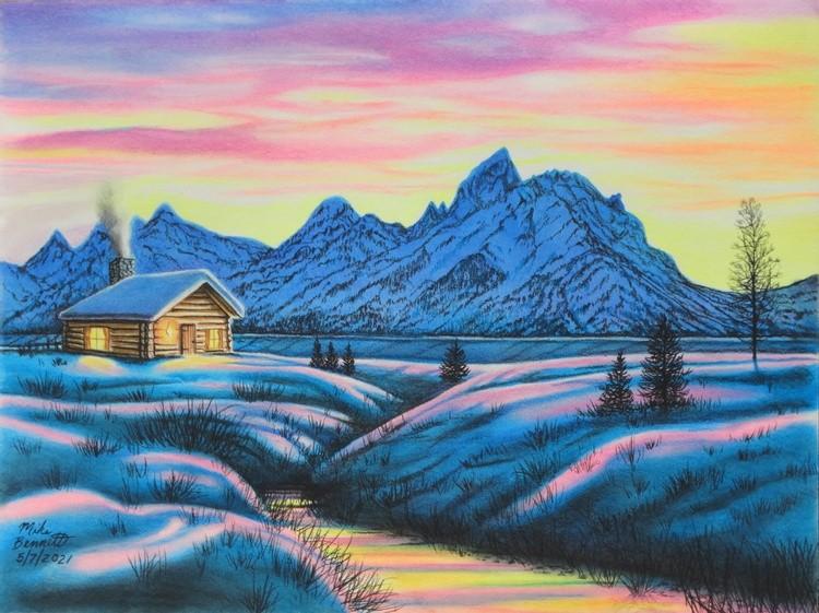 Teton Winter Cabin at Sunset
