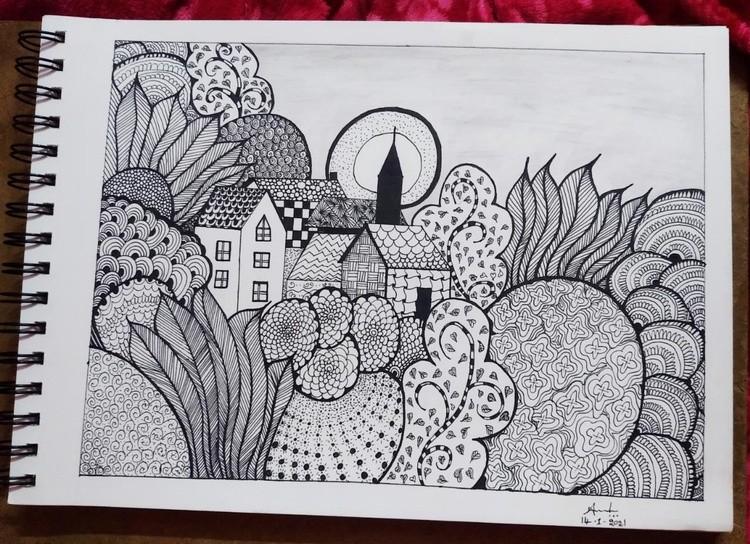 I tried hard doodle landscape sketch art