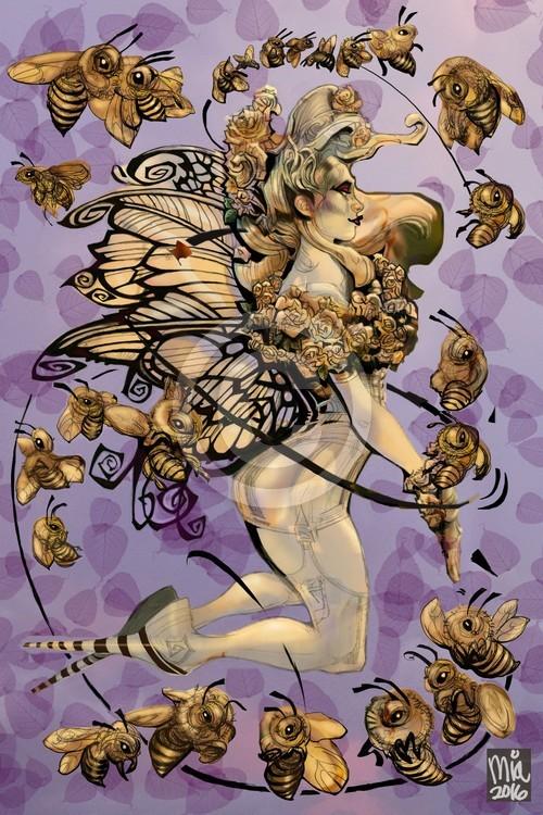 White Rose Honey bee in Purple