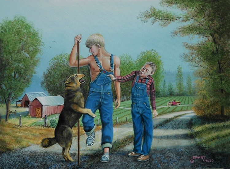 Two boys and their dog Farming scene Painting