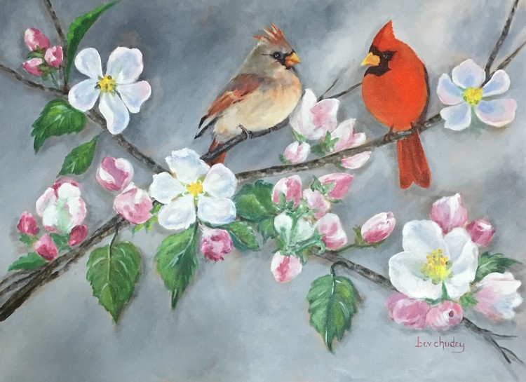 Cardinals on a Cherry Blossom Branch