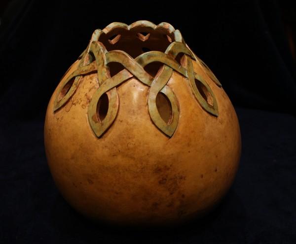 Celtic Carved Gourd Vase By Debbie Byess Artwanted