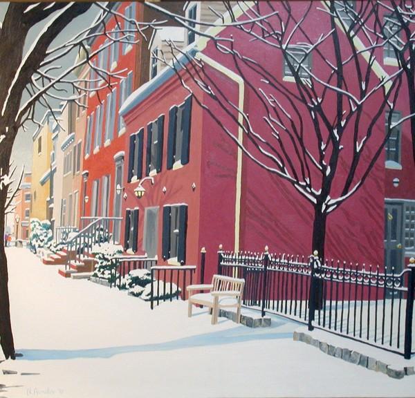 Snow in Montgomery St. (oils)