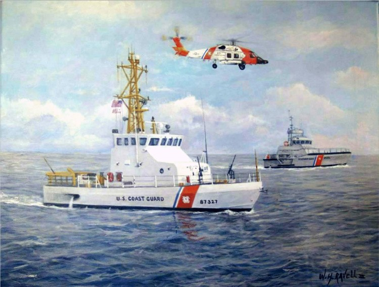 Modern Coast Guard rescue boats and helicopter