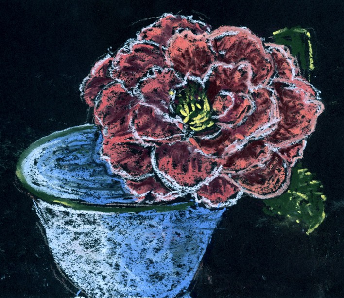 Camellia in Cup Drawing