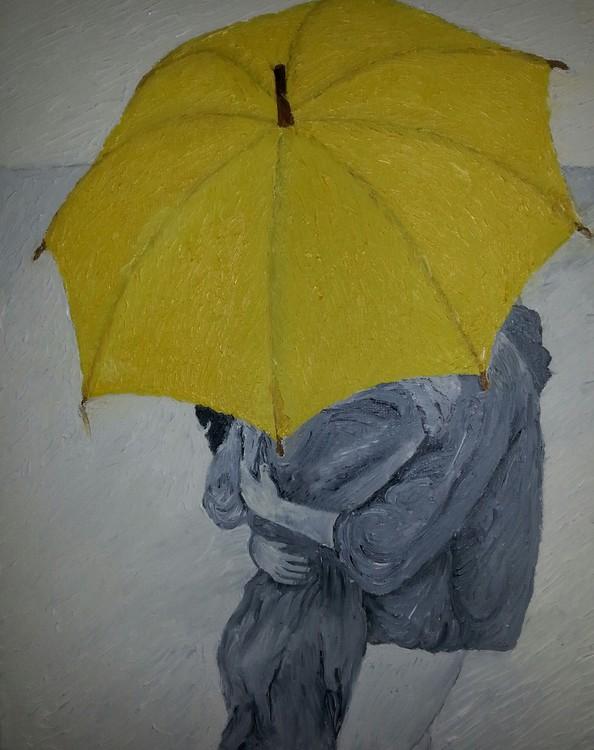 Lovers under the umbrella