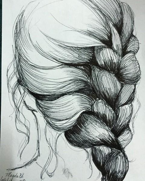 Inktober Day 8 - Hair in a Braid