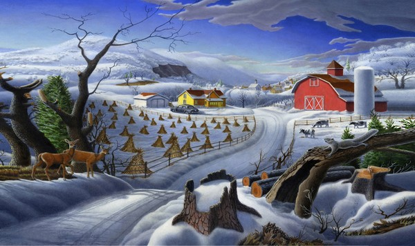 Rural Winter Country Landscape - Phone Case Art