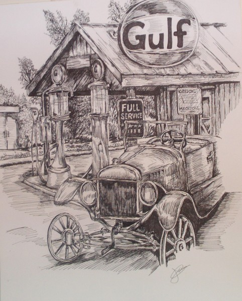 Old Gas Station Drawing Old Gas Station...
