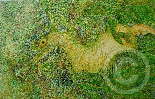 Leafy Seadragon, in pointillism