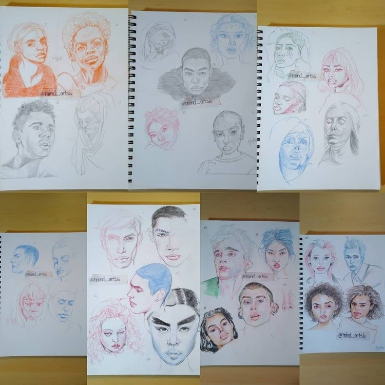 All Pages 1-7 of head sketches
