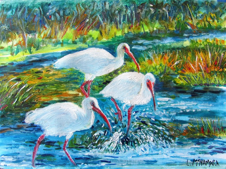 1705 SOLD Bath Time! White City Park Ibis Oil Painting