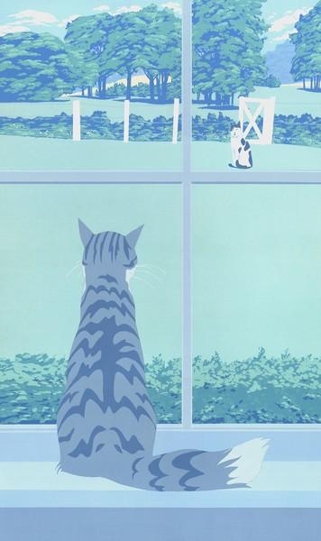 Cat Starring Out Window - Custom Phone Case Art