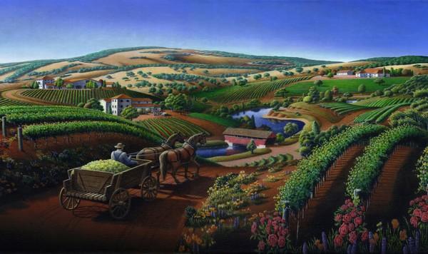 Wine Country Landscape - Phone Case Art
