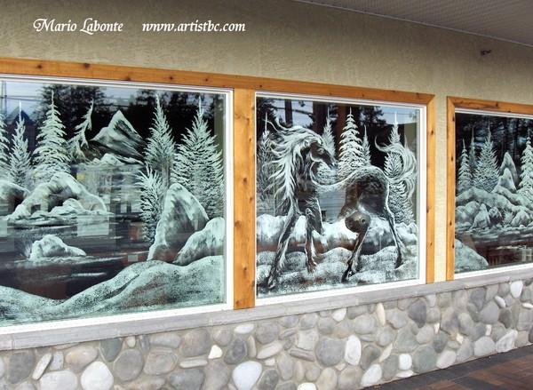 Window art by Mario Labonte ( winter landscape) & Window art by Mario Labonte ( winter landscape) by Mario   ArtWanted.com
