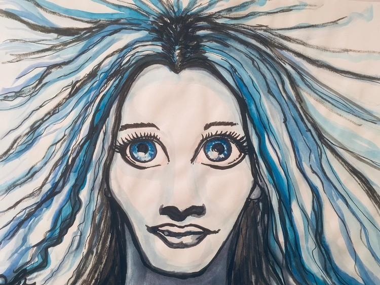 bigeyeart portrait watercolor blue