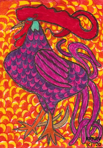 Rooster Art Card For Your Collection Buy Print Now