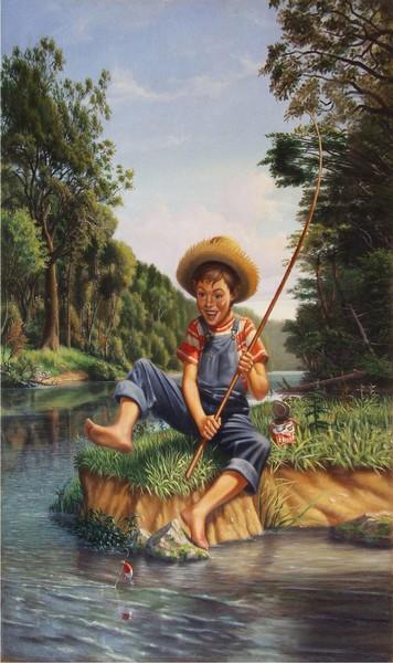 Boy Fishing - Custom Phone Case Art