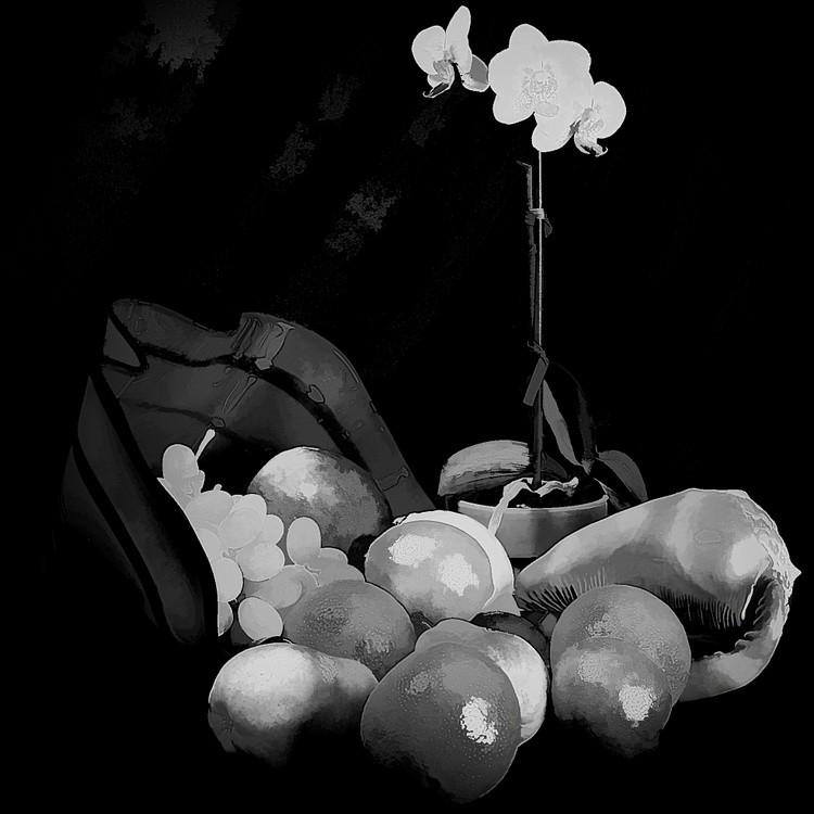 White Fruits with Black Velvet Background